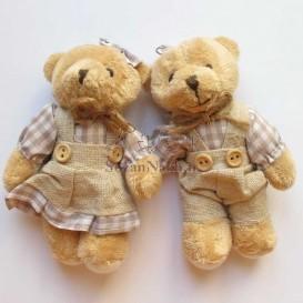 عروسک خرس با پیراهن چهارخانه