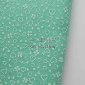 نمد 2 میل طرح گل و قلب - سبزآبی با طرح سفید