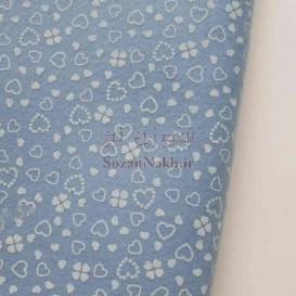 نمد 2 میل طرح گل و قلب - آبی نوزادی با طرح سفید