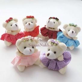 عروسک خرس دامن خالدار