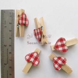 گیره  چوبی با قلب چهارخانه