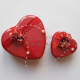 قوطی قلب فلزی گلدار