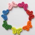 دکمه چوبی قلب رنگی I Love U