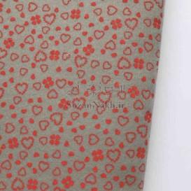 نمد 2 میل طرح گل و قلب - خاکستری با طرح قرمز