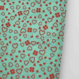 نمد 2 میل طرح گل و قلب- سبزآبی با طرح قرمز