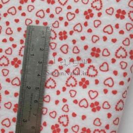 نمد 2 میل طرح گل و قلب-  سفید با طرح قرمز