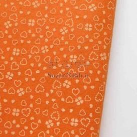 نمد 2 میل طرح گل و قلب - نارنجی با طرح سفید