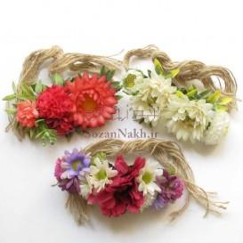 دستبند گل با بند کنفی