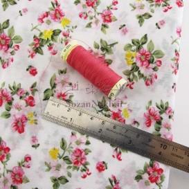 پارچه نخی چادر نمازی بوته گل سرخ _ کد 324