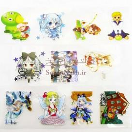 برچسب اتویی _ پکیج برچسب عروسکی کد 95 دختر ژاپنی و هزارپا